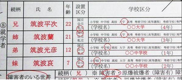 筑波大学 授業料免除 申請書7